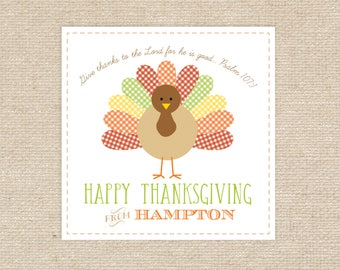 25 Printed Turkey Thanksgiving Gift Tags