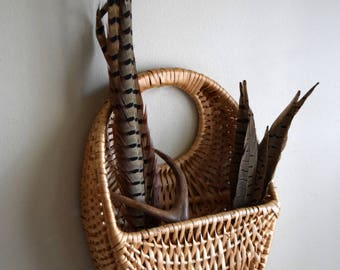 Vintage Woven Wall Hanging Basket Planter - Boho, French Farmhouse, Natural, Folk