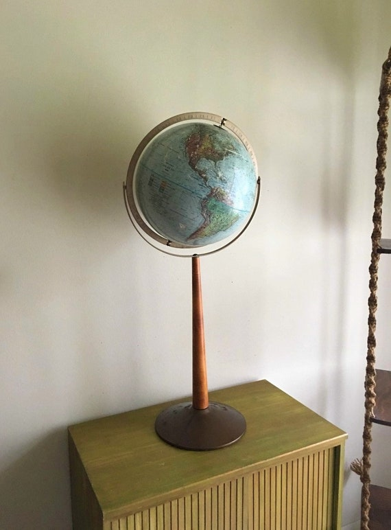 Vintage Replogle World Globe w/Wood Spool Stand ~ Mid Century, Modern, Industrial, Urban