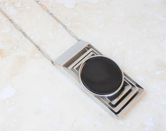 Vintage Ultra Modern Jet Black Necklace