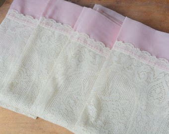 Vintage Five Piece Pink And Lace Curtain Set