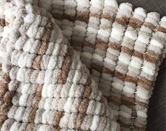 Pom Pom Blanket, Soft and Cuddly, Cream and Brown Pom-Pom Baby Blanket, Photo Prop