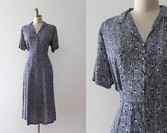 vintage 1940s rayon dress // 40s blue patterned day dress