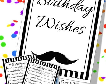 First Birthday Alternative Guest Sign In, Mustache First Birthday Party Sign, DIY Guest Sign, First Birthday Guest Sign, Instant Download
