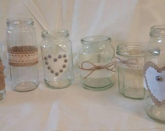 6 Wedding Decoration Table Centre pieces Tea Light Jars Hand Decorated with Hessian/Beads/string .Vintage/ Traditional/Rustic Style