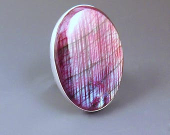 Red Purple Labradorite- Rainbow Fire- Hammered Sterling Silver -One of a Kind- Huge Chunky Statement Ring