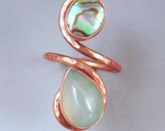 Abalone and Aqua Chalcedony- Mint Green- Seafoam- Double Stone- Adjustable Copper Ring