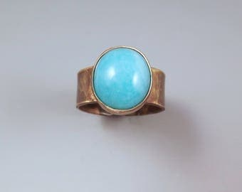 Amazonite- Aqua and Gold- Burnished Gold Patina- Metal Art Ring by RedPaw
