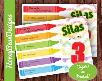 PRINTABLE Crayon Birthday Invitation Color Party