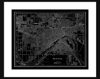 St Paul - Minnesota - Map - Black - Vintage Print Poster