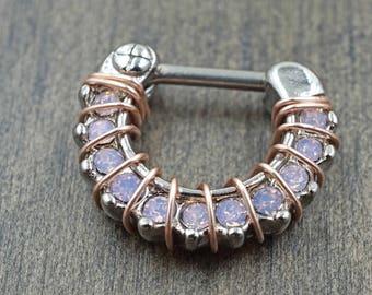 16 Light Pink Opalite Daith Hoop Rook Earring Clicker Septum Clicker Ring