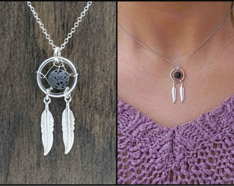 Lava Stone Dream Catcher Aromatherapy Rose Gold Silver Necklace Essential Oil Diffuser Necklace