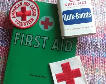 American Red Cross First Aid Book, Two Uniform Patches and Rexall Bandage Tin, Vintage First Aid