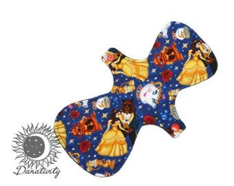 "Moderate Cloth Pad || Beauty and the Beast || Reusable Menstrual Pad || Reusable Cloth Pad || Sizes 6""-18""  