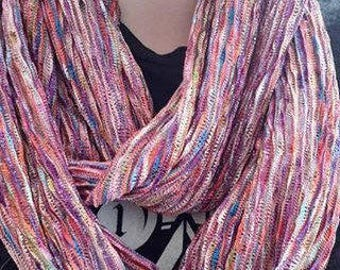 Infinity multi coloured abstract pattern scarf - loop endless circle scarf - tube eternity purple pink overtones