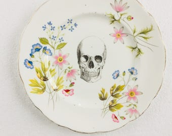 Skull Cake Tea Plate Green Pink Blue Flowers Border White Vintage Bone China Made in England Wedding Anniversary Gift Wall Art Collage