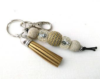 Big bead Keychain in Gold and Silver with Gold suede Tassel, backpack charm