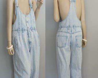80s Grunge vintage Slouchy Baggy Jumpsuit 1980s bibbed distressed denim overalls