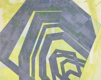 "SolarPlate Etching . Intaglio Print . Process Yellow + Silver Blue: ""Modular 3"" .12"" x 14"" Unframed"