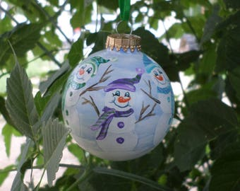 Snowman Hand Painted Ornament,  winter Ornament , glass christmas ornament, tree decoration 272