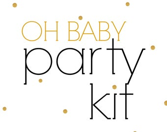 Baby Shower PARTY KIT, Oh Baby Shower Party in a Box, Party for 20, White and Gold Decor