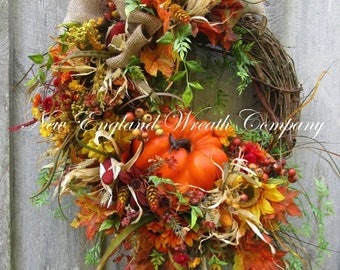 ON SALE Fall Wreath, Autumn Wreaths, Pumpkin Wreath, Harvest Wreath, Fall Woodland Wreath, Fall Designer Wreath