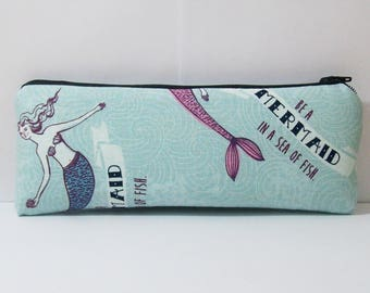 """Pipe Pouch, Mermaid Bag, Pipe Case, Pipe Bag, Zipper Bag, Padded Pouch, Glass Pipe Case, Mermaids Pouch, 420, Smoking Accessory - 7.5"""" LARGE"""