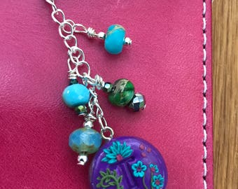Monogram T flower and bead dangle charm for travelers notebook journals planners purse or cell phone
