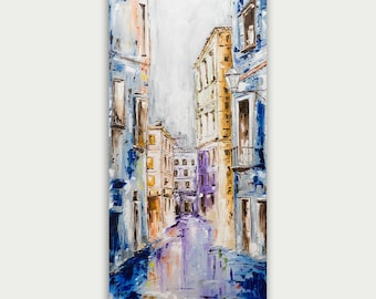 Original Oil Venice Painting, Abstract City Painting, Modern Art, Texture Art On Canvas, Home Decor