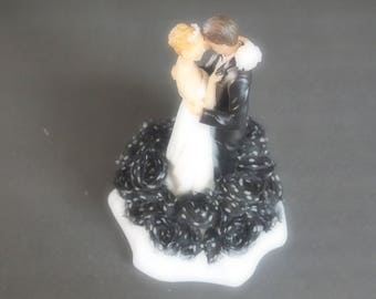 Wedding Cake Topper Bride Groom Black With White Dots Choose Hair and Flower Colors