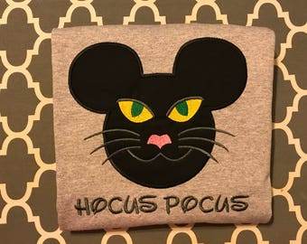 Black Cat Halloween Cat Mr Mouse head personalized applique Childrens Kids Infant and Toddler shirt