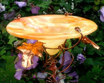 Garden Stake, BUTTERFLY FEEDER, stained glass, copper, Peaches and Cream, BIRD Feeder, Home and Living, Outdoor