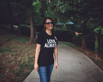 Unisex Adult Soft Black Tee - Vintage Black Screen Print Shirt - Size Medium - Love Always for Charity - Off Center Arts Project Donation