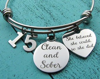 sobriety anniversary gift, clean and sober bracelet, aa recovery gift, sobriety gift, mental health awareness, na addiction recovery jewelry
