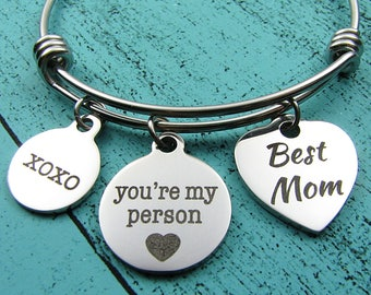 best Mom gift, Mom birthday gift, Christmas gift for Mom bracelet, you're my person, Mother's Day jewelry, wedding gift for Mom, xoxo hugs