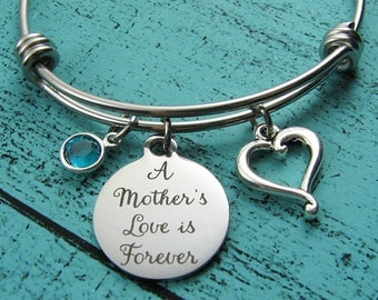 new Mom gift, mom bracelet, daughter gift from mom, baby shower gift, expectant mom mommy jewelry, Mothers day gift, mothers love is forever