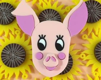 Cute kitsch pig necklace/brooch, laser cut acrylic