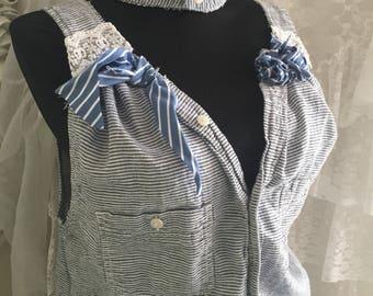 Upcycled tattered fringed tunic, unique boho chic with choker