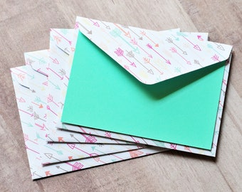Arrow Mini Cards - Pastel // Set of 4 // Gift Card Envelopes // Blank Cards // Enclosure Cards // Love Note // Valentine's Day Card