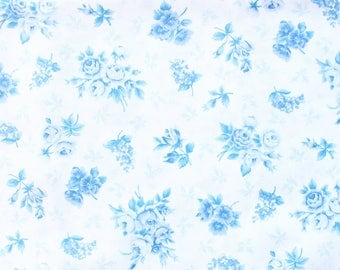 1990's Blue and White Floral Fabric by VIP Cranston soft thin cotton baby blue hues simple elegant
