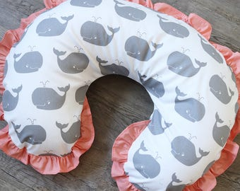 Whale Boppy Cover, Nursing Pillow Slip Cover, Grey Whale with Coral Ruffle, Nautical Nursery