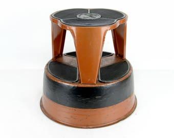 step stool, kik step, mid century, library stool, orange, side table, plant stand, red, black, ottoman, kitchen stool, retro, fun