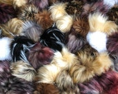 """Mystery Faux Fur Pom Pom Bags 3-4"""" Sizes in a Random Mix of Colors"""