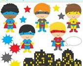 75 OFF SALE superhero clipart digital clip art super hero boys - Super Boys Clipart