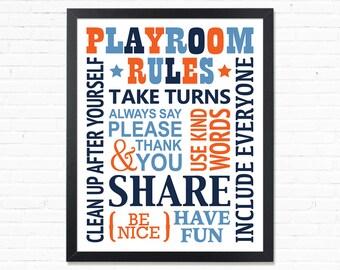 Playroom Rules Playroom Sign Toddler boy room decor printable Wall Art Kids Room Decor Playroom poster Game room Wall decor Print for boys