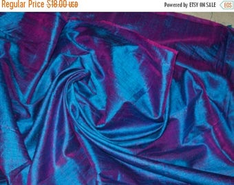 15% off on One yard of blue with a tinge of purple 100 percent pure dupioni silk