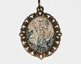 Samurai Necklace, Demon Jewelry, Ukiyo-e, Japanese Woodblock Art, Bronze Oval Pendant