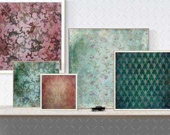 Damask, floral, red, green, pink, vintage style  Digital  12 x 12 in  Decoupage texture, Commercial Use,  14 scrapbooking papers (85)