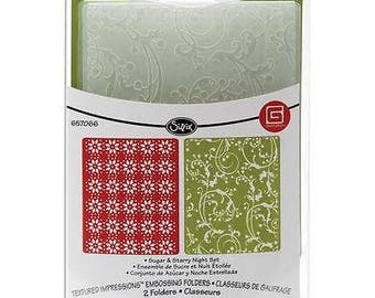 Sizzix Textured Impressions Embossing Folders 2PK - SUGAR & STARRY NIGHT Set