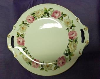 Royal Worcester Find Bone China, Royal Garden ELGAR, 12. 5 inch Handles Cake Plate